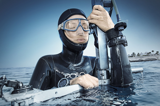 Apnoe diver Anna von Boetticher free diving, Sharm El-Sheikh, Egypt