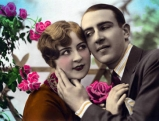 Mann und Frau, Postkartenmotiv, um 1900