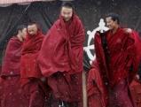Tibetische Moenche kommen aus einem Tempel in Tongren