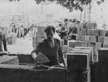 Bau der Berliner Mauer unter Bewachung der NVA, 1961