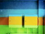 Die typischen Farben (Designer Otl Aicher) der Olympischen Sommerspiele von 1972