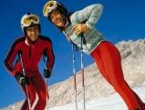 Die deutschen Skirennläufer Christian Neureuther und Rosi Mittermeier