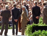 Shimon Peres bei Verhandlungen des Osloer Friedensprozesses, 1993