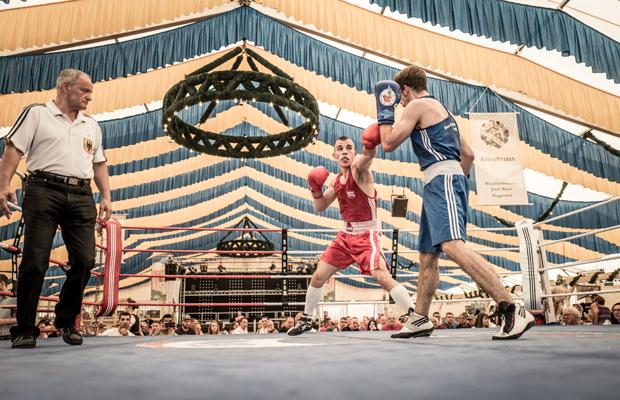 Dultboxen in Deggendorf: In einem Vergleich treten Kämpfer des Box-Club Straubing 1931 e.V. (blau) gegen eine Belgrader Stadtauswahl (rot) an