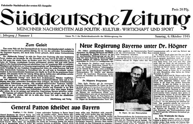 Titelseite der SZ Nr. 1 vom 6.10.1945. Die Ausgabe hatte nur acht Seiten. Aufgrund des großen Papiermangels erschien die Süddeutsche Zeitung noch jahrelang mit vergleichsweise geringem Seitenumfang.