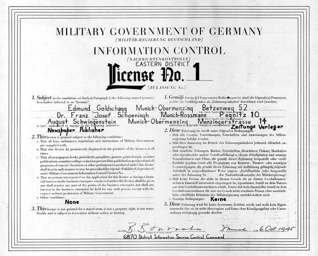 License No. 1 - Lizenz Nr.1 vom 6. Oktober 1945 für die Gründung der Süddeutsche Zeitung.