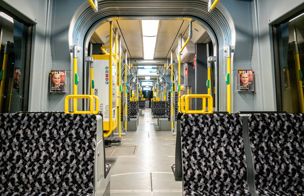 Empty streetcar during the coronavirus lockdown in Berlin.